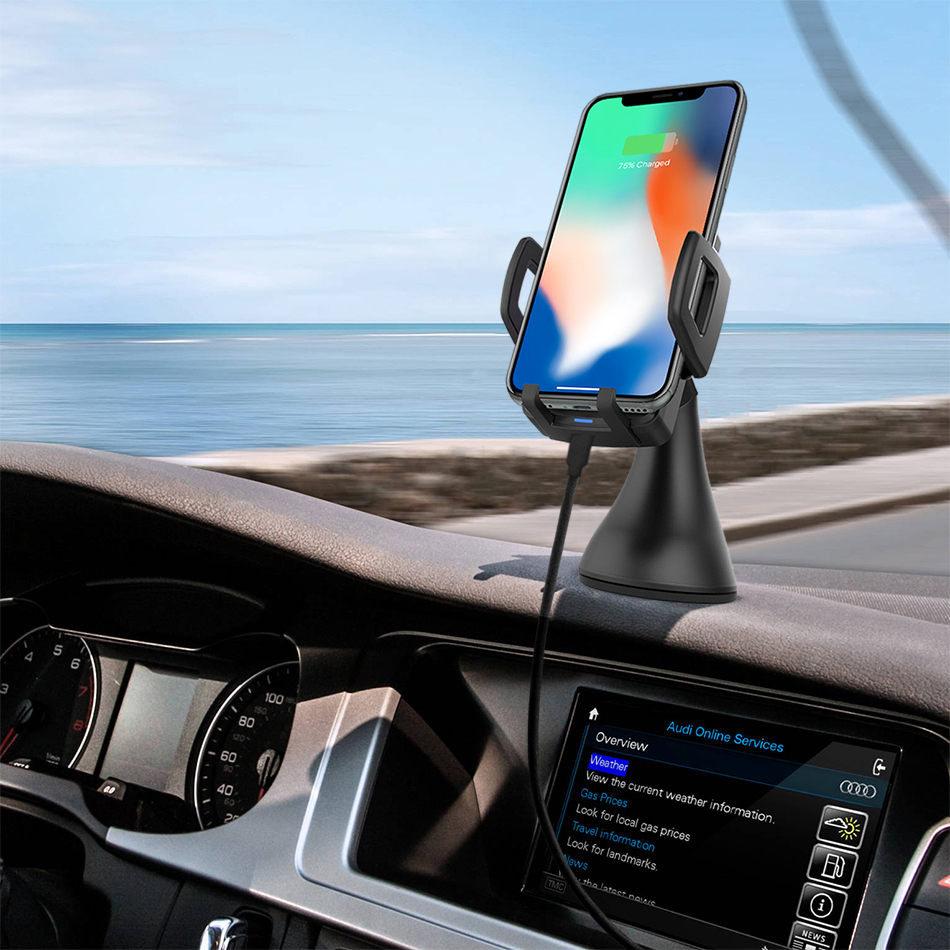 qi fast wireless charging car mount holder for apple iphone x. Black Bedroom Furniture Sets. Home Design Ideas